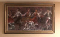 LISTED AMER TED JASLOW (b.1934)  IMPRESSIONIST GOUACHE PAINTING Dancing 1978 AWS