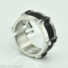MOVADO STAINLESS STEEL MEN'S BAND WITH BLACK MIDDLE RING SIZE 7