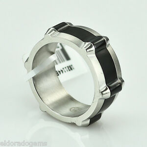 MOVADO STAINLESS STEEL MEN'S BAND WITH BLACK MIDDLE RING SIZE 9.75