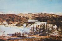 1939+ Postcard Winter Mountains Tarn Hows Lancashire Black Fell Grasmere Fells