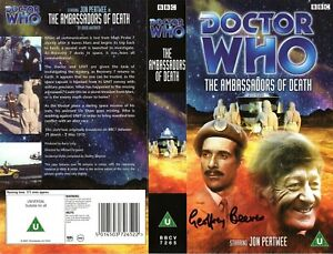 Doctor Who: THE AMBASSADORS OF DEATH VHS Cover Signed by Geoffrey Beevers