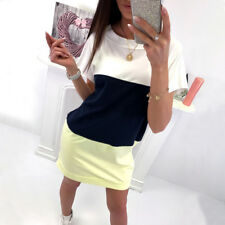 Womens Back V Lace UP Short Mini Dress Summer Beach Long Tops T Shirt Size 6-18