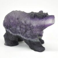 "3"" Fluorite Bear Fluorite Stone Carving Natural Gemstone Animals Statue Gift"
