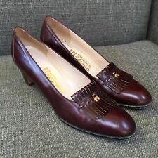 Salvatore Ferragamo Womens Bordeaux Calf Kiltie Heels Pumps Preppy Vtg? 7 AA