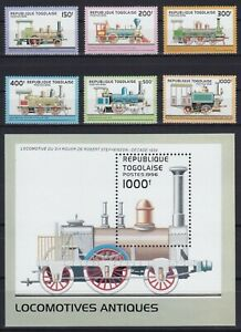 Togo  2487 - 2492 + Block 402 (2493) **, Dampflokomotiven (18 ME)