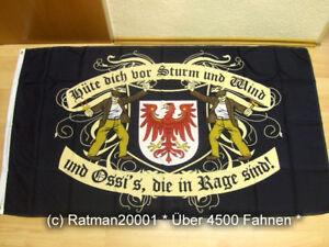 Hissfahne aus rei/ßfestem Polyester Deitert Bundesland-Flagge Brandenburg 120x80 cm Brandenburg Fahne mit Wappen