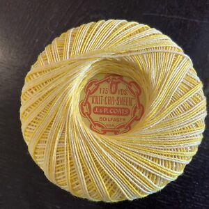 Vintage J&P Coats Knit-Cro-Sheen Boilfast Mercerized Cotton Yellow Mult Avail