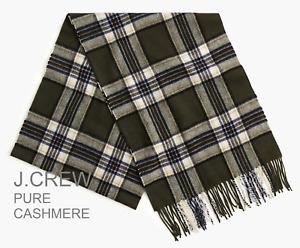 J.CREW 100% pure cashmere scarf muffler olive green plaid tartan check gift NWT