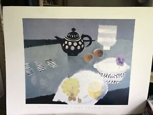 """MARY FEDDEN RA  Large  Print On Board Poster """"ONE PURPLE PANCY """"flower Teapot"""