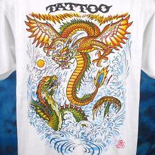 NOS vintage 80s TATTOO DRAGON FIGHT CARTOON T-Shirt M/L chinese biker rock thin