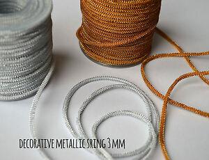 Decorative braided metallic string cord 3 mm Jewellery Craft Soutache 5 10 25 m