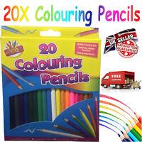 20 PACK CHILDREN KIDS SCHOOL ART CRAFT COLOURING COLOUR PENCIL COLOURED PENCILS