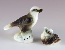 Vintage Miniature Bone China Eagle With Chick Figurines Matte Finish Japan