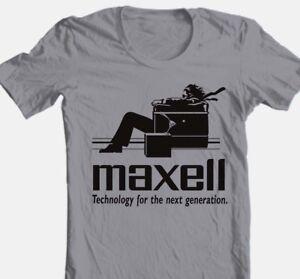 Maxell speakers T-shirt Logo retro 1980's Blown Away Man 100% cotton graphic tee