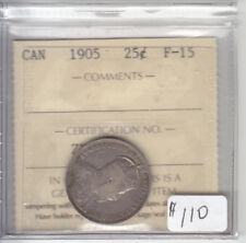 1905 CANADIAN 25 CENT COIN ICCS F-15