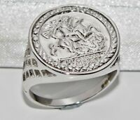 925 Sterling Silver St George Coin Ring - ALL SIZES AVAILABLE including LARGE