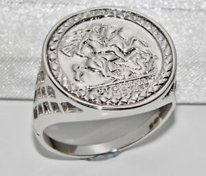 Sterling Silver Sovereign Coin Ring - ALL SIZES inc Large - St George - Men's