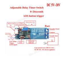 DC 5V 12V 24V Adjustable Trigger Delay Timer Time Relay Switch Module 0-24s Car