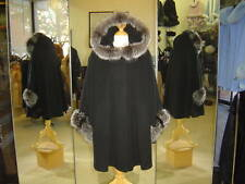 Black Cashmere Hooded Jacket With Silver Fox Fur Trim Beautifully Canadian Label