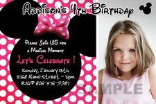 MINNIE MOUSE HOT PINK DOTS POLKA ZEBRA BIRTHDAY PARTY INVITATION INVITE 1ST - C2