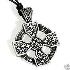 56A Silver PEWTER Celtic SOLAR CROSS PENDANT Necklace