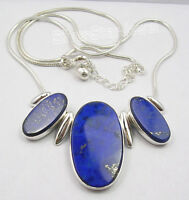 """925 Solid Silver NAVY BLUE BIG LAPIS LAZULI Snake Chain Necklace 18.25"""""""
