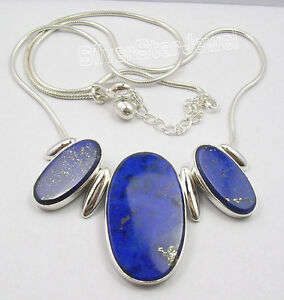925 Solid Silver NAVY BLUE BIG LAPIS LAZULI Snake Chain Necklace 18.25""