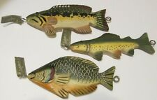 "3 Midwest Of Cannon Falls 7"" Large Wooden Fish Ornaments Retired"