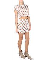 Reverse Elephants Cream Brown Twin Set Skirt T Shirt Top S M L