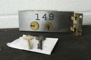 VINTAGE DIEBOLD SAFE DEPOSIT BOX LOCK W/ 2 KEYS & HINGE SAFETY DOOR- SMALL