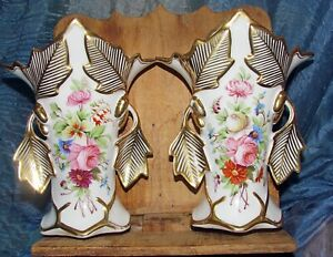 antique pair old Paris vases hand painted flowers gold leaves
