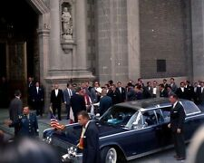 President John F. Kennedy and Jackie exit limousine at Basilica New 8x10 Photo