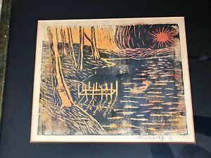 Landscape ORIGINAL LINOCUT Signed Framed Art Print Orange