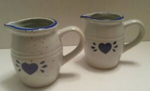 Vintage Stoneware Milk & Creamer Miniature Pitchers Blue Heart Classic Pitchers
