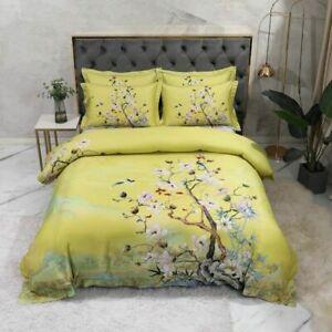 Flowers Duvet Cover Soft Silky Egyptian Cotton Bedding Sets 4/6Pcs Bedding Set