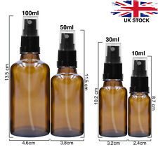 AMBER Glass Spray Bottles with BLACK ATOMISER / Mist Spray Refillable 10 - 100ml