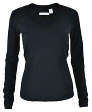 Magliette da donna neri basica con girocollo