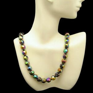 Vintage Chunky Faceted Carnival Glass Beads Necklace Gold Plated Adjustable