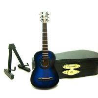 1:12 Puppenhaus Akustik Gitarre Miniature Musikinstrument Toy Case Blau Möbel
