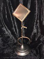 Art Deco Tramp Art Gentleman's Nickel Finish Table Top Shave Mirror
