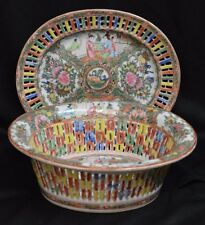Antique Chinese Export Porcelain Rose Medallion Basket and Underplate