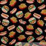 BonEful FABRIC FQ Cotton Quilt Junk Food Kitchen Hot*dog Hamburger Route 66 Sale