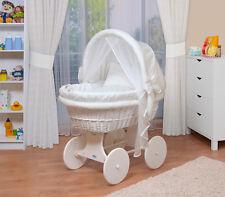 WALDIN Baby Bollerwagen, Stubenwagen, komplett mit Zubehör, XXL, Stoffe weiß