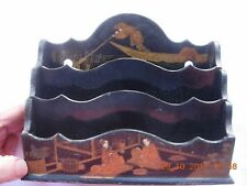 Antique Japanese black lacquer letter rack with gold samurai warriors