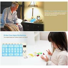 4 Alarm Digital Pill Box Timer Reminder 7-Day Medicine Organizer Container M5P7