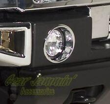 H2 CHROME FOG LIGHT BEZELS driving light trim surrounds
