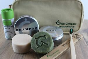 Ecofriendly Toiletry Kit, Plastic Free, Vegan, Natural, Soap, Shampoo, Deodorant