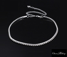 White Gold PL Cubic Zirconia CZ Stretch Choker Tennis Chain Necklace Jewellery