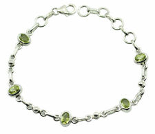 Green 925 Sterling Silver Natural cute Peridot supply Bracelet AU