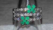 Emerald Kristall 925 Sterling Silber pl ring-54,56,58